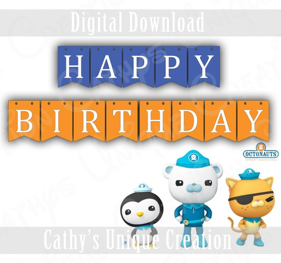 image relating to Octonauts Printable called Octonauts Printable Satisfied Birthday Banner, 1st, Bash Components, Decorations, Captain Barnacles, Kwazii, Dashi, Peso, Boy, Immediate Obtain