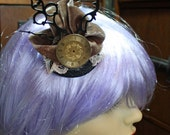 clock hands and watch dial steampunk copper and black fascinator headpiece
