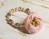 Infant Rosette Custom Name Bracelet, pink gold Baby Glass Beads with Fabric Flower Newborn Girl photo prop, baby shower gift twins initials