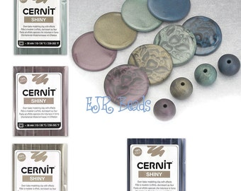 New Cernit Shiny Colours - All 4 Darker Colours, Metallic Mica Shift Polymer Clay Packs