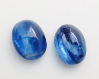 AAA Kyanite Gemstone 6x8mm Oval Cabochons and Bezel Cups