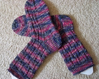 Socks - Hand Knitted  Socks - Selfstriping in Mixed Colors - Size 11-12 Women US