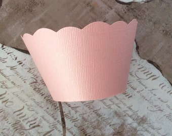 Pink Pearl Cupcake Wrappers weddings showers birthdays Pearlescent Blush Pink
