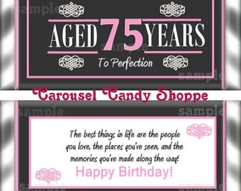75th Birthday Party Favors Hershey's Candy Bar Wrappers Pink