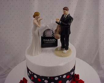 Golf Lover Groom and Bride blowing Kisses with her Weddings Shopping Bag-Groom's Sports Wedding Cake Toppers-Romantic Hand Painted Couple-1A