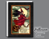 Halloween Card, Flying Witch, Witch on Broom, Halloween quote, vintage Halloween, reproduction card, Halloween note card, Halloween poem