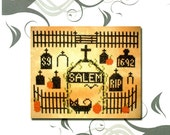 Salem Graveyard Cemetery Graves Crosses Picket Fence Black Cat Halloween 1692 Counted Cross Stitch Embroidery Craft Pattern Sheet 8