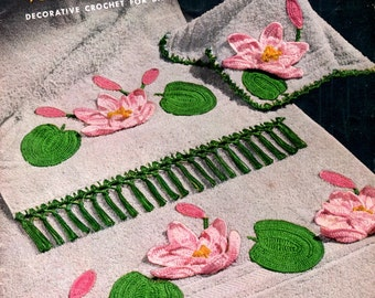 Bathroom Beauties Decorative Crochet Towel Edging Water Lily Penguin Cherry Poinsettia Daisy Vintage 1950s Craft Pattern Leaflet Clark's 265