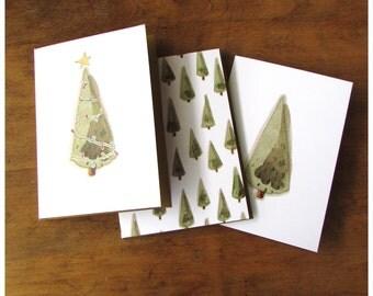 Christmas Cards - Set of Three Christmas Card - Christmas Tree Cards