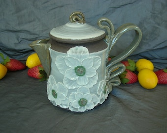 Ceramic Coffee Pot, Teapot in Summer White with Poppies on Black Mountain