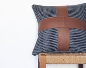 Tan Leather and Fabric Pillow ... Luxe Sofa Cushion with Leather Cross