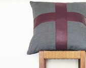Large Grey Leather Pillow ... Luxe Patterned Sofa Cushion with Burgundy Leather Cross 50 cm
