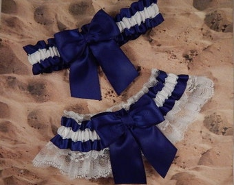 Navy Blue Ribbon White Satin White Lace Bridal Wedding Garter Toss Set