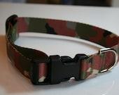 Medium Dog Collar 1 inch polyester webbing camo pattern