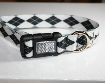 Medium dog collar one inch polyester webbing argyle black and white with reflective buckle