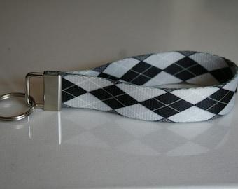 "Black and White Argyle polyester 1"" webbing key chain fob wristlet"