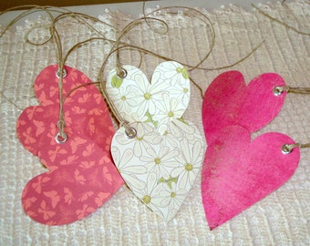 Hand Cut Heart Gift Tags with Twine  - Coral, Pink and Green Gift Tags - Set of 6 - GT006