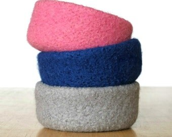 Felt Bowls Felted Set Of 3 Three Home Decor Knitted Baskets Catch All Desk Organizer Pink Blue Gray Hostess Housewarming Gift Idea