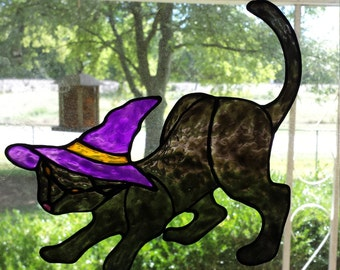 Cat In Witch Hat Stained Glass Window Cling