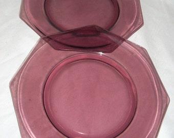 2 Hazel Atlas Moroccan Amethyst Purple Glass Dinner Plates