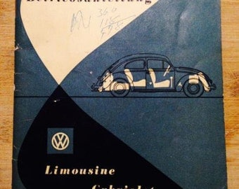 VW Volkswagen Zwitter Split Beetle Instruction Owner's Manual December 1952 German