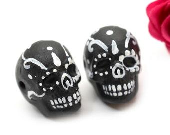 Skull Beads, 2 pcs Sugar Skulls, Painted Skull Beads, Dia de la Muertos, Black Skulls -R193