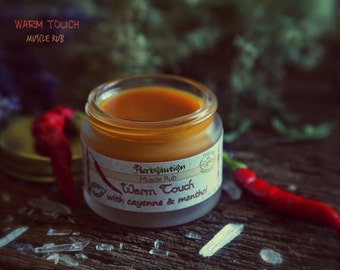 Organic Muscle Rub balm warming soothing herbal tissue - cold hot natural salve. Warm Touch balm with Cayenne, Ginger, Mustard, Menthol