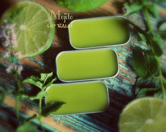 Mojito Lip Balm. Peppermint Lime lip balm. Made with organic ingredients.