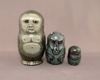 Sasquatch Legends Nesting Dolls Jersey Devil Cupacabra Matryoshka Set of 3