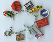 New York City Collectible Items Handmade Charm Bracelet Bagel Taxi Twin Towers Liberty