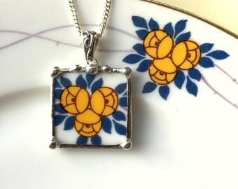Broken China Jewelry pendant necklace antique porcelain Art Nouveau yellow rose