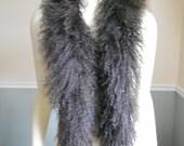 Fur Scarf / Lamb Collar / Tibetan Mongolian Lamb / 1980s / Chocolate Brown Curly lamb