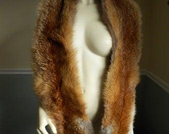 Red Fox Fur Scarf  / Large Collar / Boa Wrap / Stole Shawl