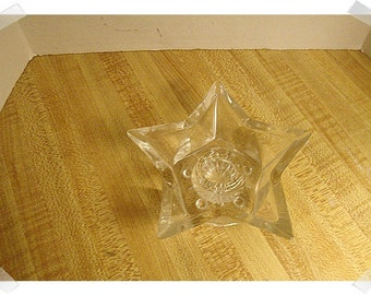 Clear Glass Star Candle Holder/Home Decor*