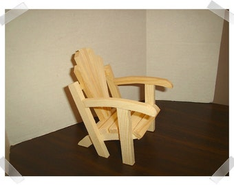 Unfinished Wooden Adirondack Chair/Miniature/Craft Supplies*