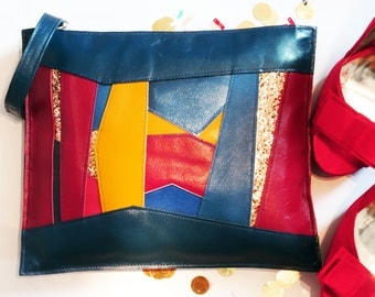Navy red and yellow wristlet with glitter panels, navy clutch bag, statement bag, glitter clutch