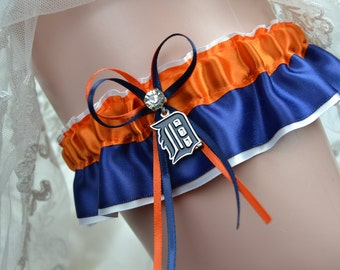 Wedding Sport Garter Detroit Tigers Theme- Wedding Keepsake Garter -Bridal Keep Garter- Sport Garter