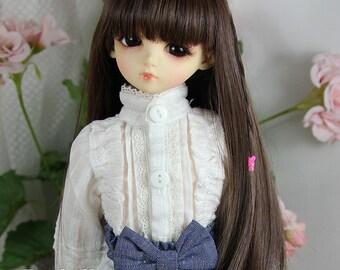 Fatiao - New Dollfie MSD 1/4 BJD Size 7-8 inch Dolls Long Wig Dark Brown