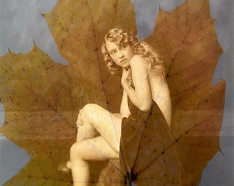 Lady of the Leaves, Woman, Art Deco, Art Nouveau, Edwardian, Nude, Naked, Boudoir, Sensual, Vintage, Erotica, Feminine, Altered Art, Layered