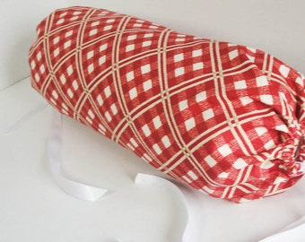 """Red bolster pillow cover, trellis design Neck roll, red white tan stripes, country decor, western look 14x6"""" cylinder, custom sizes"""