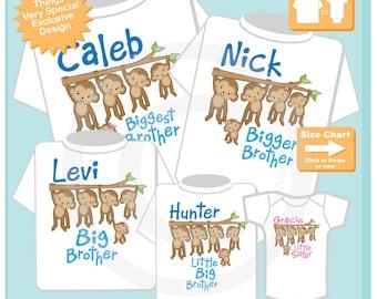 Sibling Monkey Shirt Set of Five, Biggest Brother, Bigger Brother, Big Brother, Little Big Brother, and Little Sister (09182014d)