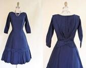 50s Dress - Vintage 1950s Dress - Navy Princess Silk Cocktail Party Dress S - Rear View Dress