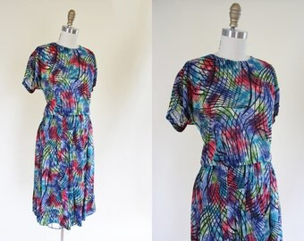 1940s Dress - Vintage 40s Dress - Colorful Atomic Print Rayon Swing Top and Skirt M L - Sound Waves Dress