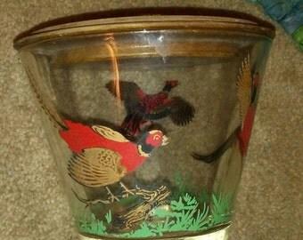 Sale-Vintage Glass Pheasant Tobacco Humidor