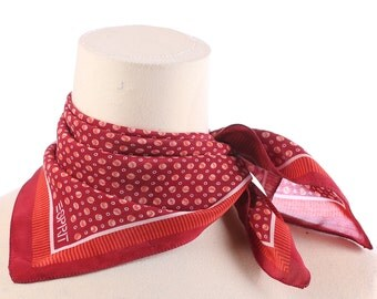 POLKA DOT SILK Scarf 90s Small Red and White Kerchief Pure Silk Neckwear Mod Vintage Neck Scarf Hipster Womens Mens Gift Christmas Idea