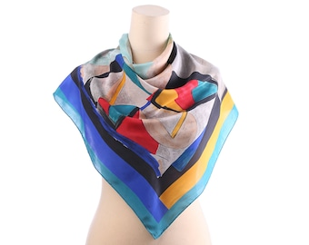 Colortful Silk Scarf 70s ABSTRACT Print Silk CREPE 32 inch Vivid Red Blue Yellow Geometric Print Ladies Headscarf Hipster Shawl Gift Idea