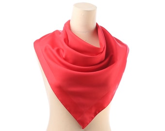 SIMPLE RED Scarf 70s Vivid Neck Kerchief 26 In Square Lipstick Red VALENTINE Day Transparent Retro Head Scarf  Womens Gift