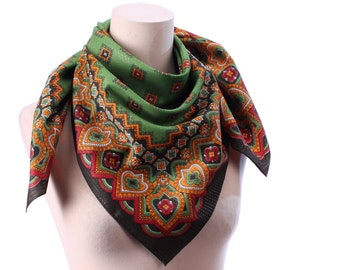 Green BOHO Scarf 70s Mossy Red Yellow Ladies Scarf  Abstract Oriental Printed Neck Scarf Silver Threaded Retro Secretary Office Urban