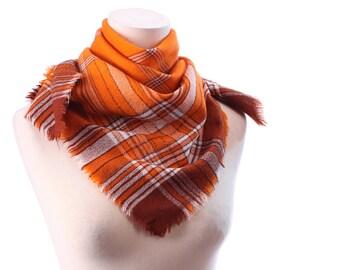 Plaid WOOL Scarf 70s Woven Blanket Shawl Rust Brown Burnt Orange Silver Threaded Wrap Medium Large Fringe Neckwear Winter Warm Gift Idea