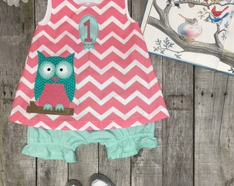 Owlivia the Owl  First Birthday Dress and Bloomers